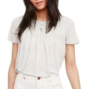 Free People Smocked Shirred Pleated Top Blouse